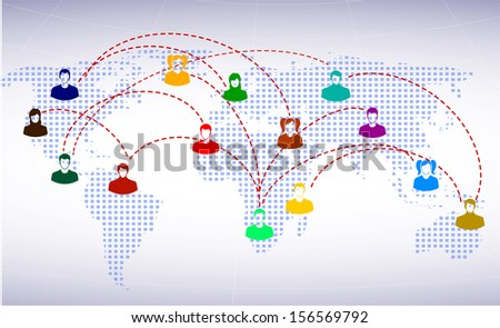 people icons on a background of the planet symbolizes social network - stock photo