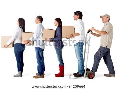 People in a delivery chain carrying boxes - isolated over a white background - stock photo