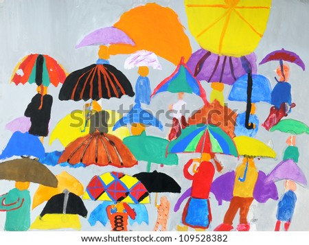 People in a multi-colored childrens drawings - stock photo