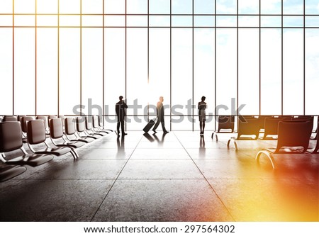 people in airport - stock photo