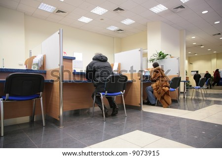 people in bank 2 - stock photo
