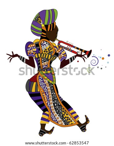 people in festive dress is beautiful music in ethnic style (raster version) - stock photo