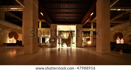 people in hotel reception - stock photo
