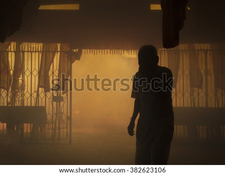 people in house smoke fire  - stock photo