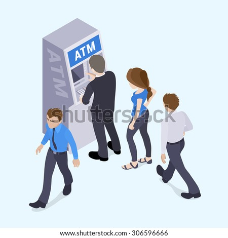 People in line in front of the ATM. Illustration suitable for advertising and promotion - stock photo