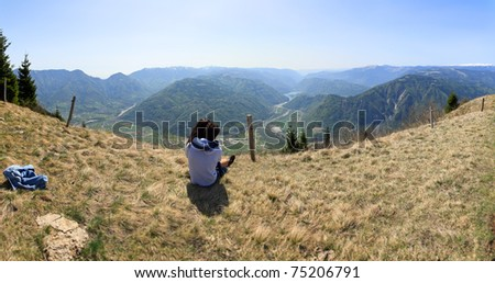 people in love in the mountains - stock photo