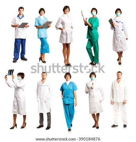 People in medical overalls isolated on white background - stock photo