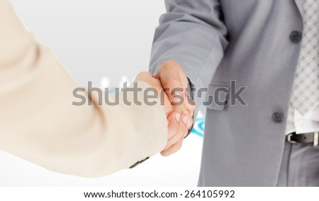 People in suit shaking hands against online community - stock photo