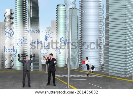 People in the city. Men Dumbbells Megaphon - stock photo
