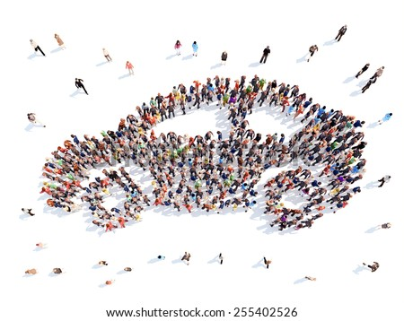 people in the form of a car. - stock photo