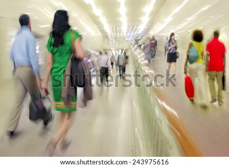 People in the lobby motion blur - stock photo