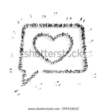 people in the shape of a buble chat. - stock photo