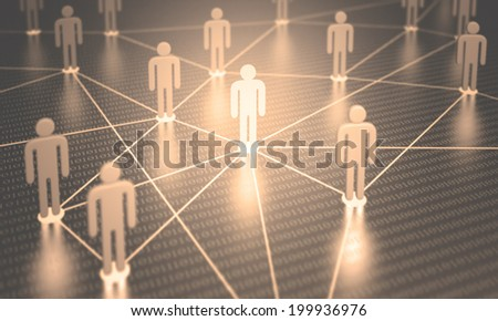 People interconnected with depth of field on the concept of team.
