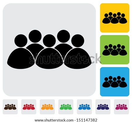 people, kids, community icon ( sign )- simple graphic. This illustration has the icon on grey, green, orange and blue backgrounds & useful for websites, documents, printing, etc - stock photo