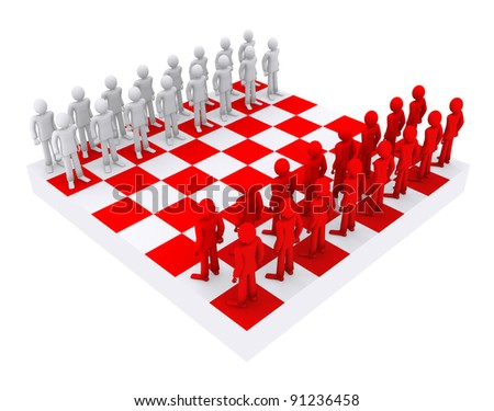 people like figures on a chessboard - stock photo