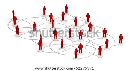 People linked to a network.