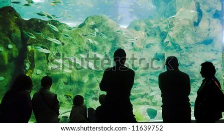 People looking big acquarium at San Sebastian - Spain - stock photo