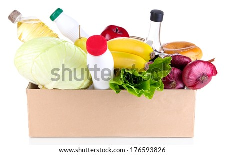People make out products of box isolated on white - stock photo