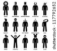 People Man Characteristic Behaviour Mind Attitude Identity Personalities Stick Figure Pictogram Icon - stock photo