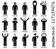 People Man Emotion Feeling Expression Attitude Stick Figure Pictogram Icon - stock photo