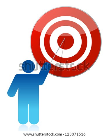 people - man, person pointing a target illustration design over white
