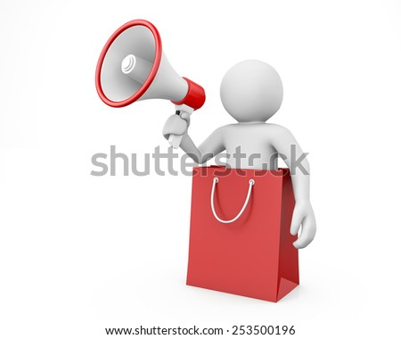 people megaphone - bag isolated on white - stock photo