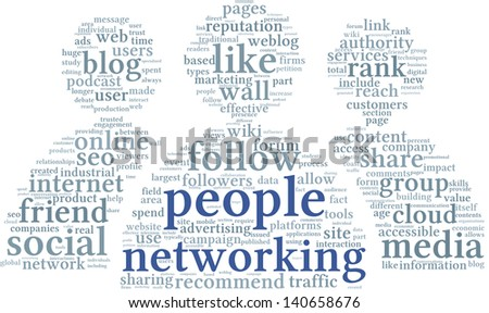 People networking concept in word tag cloud on white background - stock photo