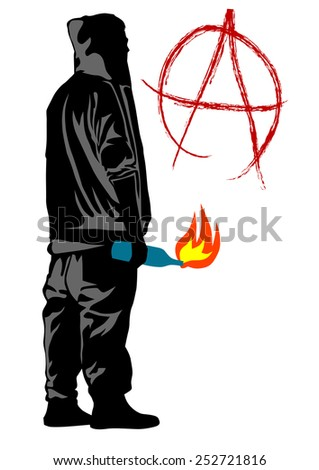 People of anarchia with molotov cocktail on white bacground - stock photo