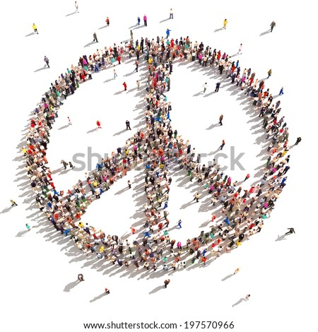 People of peace. Hundreds of people that support peace on a white background. - stock photo