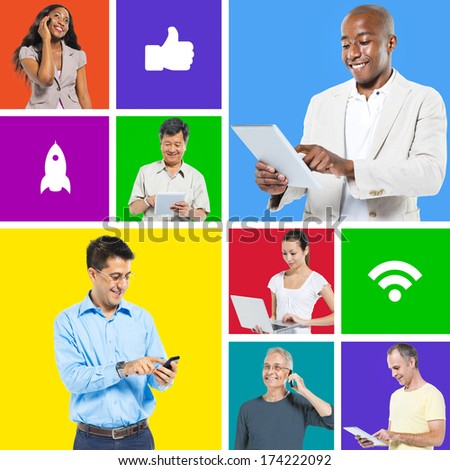 People on digital devices - stock photo