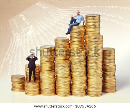people on golden euro coin piles
