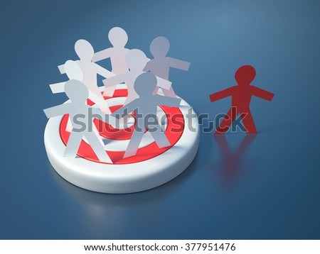 People on Target - Community Concept - High Quality 3D Render   - stock photo