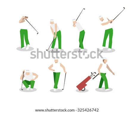 People playing Golf set. swing with a Golf club. golf car.  - stock photo