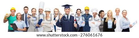people, profession, education, gesture and success concept - happy bachelor with diploma showing ok sign over different workers behind - stock photo