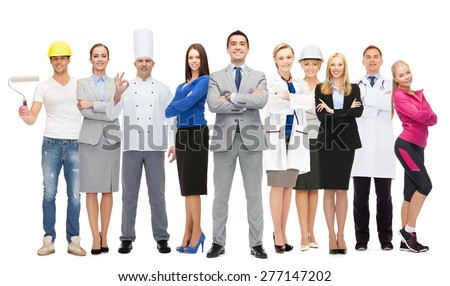 people, profession, qualification, employment and success concept - happy businessman over group of professional workers - stock photo