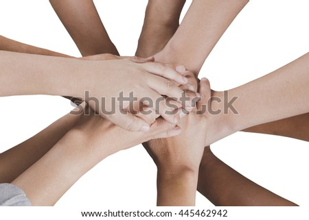 people put hand together  isolated on white background for use as teamwork, unity concept