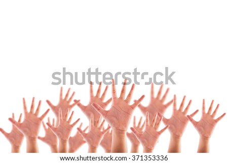 People raised hands isolated on white background - stock photo