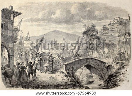 People reaching Florence from Tuscany to vote annexation to Italian State. Original, from drawing of Durand, after sketch of  Sanesi, published on L'Illustration, Journal Universel, Paris, 1860 - stock photo