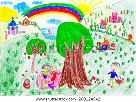 people relax on meadow near the village. child drawing - stock photo