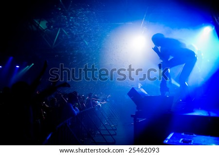 People relaxing at the concert, anonymous girl on the stage - stock photo