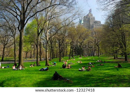 People relaxing in the Central Park, New York - stock photo