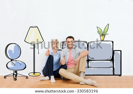 people, repair, moving in, interior and real estate concept - happy couple sitting on floor and showing thumbs up at new home over furniture cartoon or sketch background - stock photo