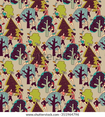 People run in park health life color seamless pattern. Group people run between trees. Color  illustration. - stock photo