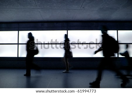 People running in Potsdamer Platz, Berlin - stock photo