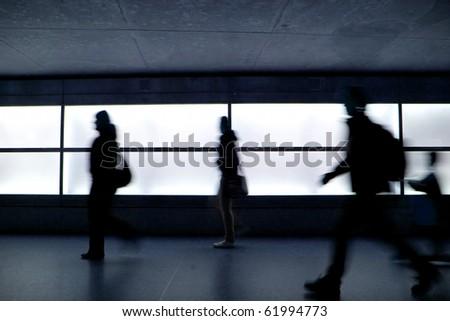 People running in Potsdamer Platz, Berlin - stock photo