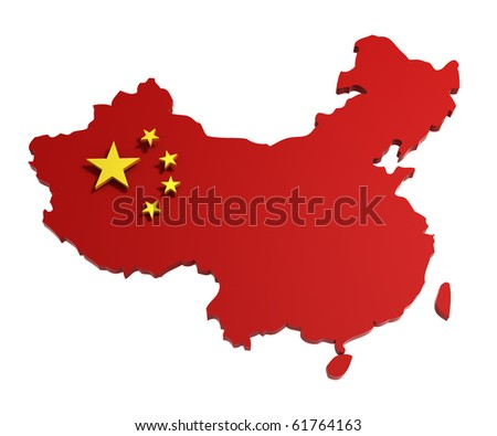 People's Republic of China, map with flag, isolated on white, 3d illustration - stock photo