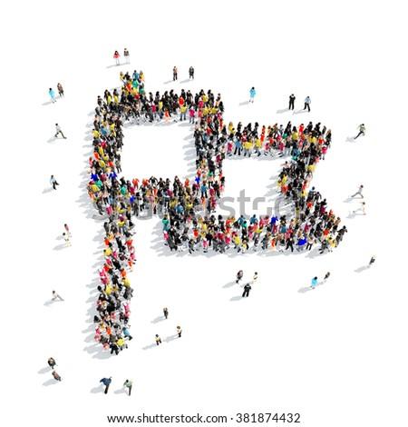 people shape  flag - stock photo