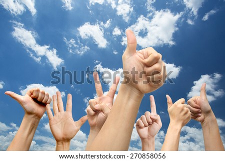 People show hands for agree your offer good conditional with Blue sky - stock photo