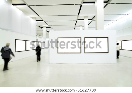People silhouettes in the museum interior - stock photo