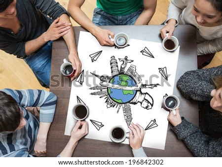 People sitting around table drinking coffee with page showing landmarks of the world with airplane doodle - stock photo